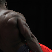 Donnell Whittenburg, Colorado Springs, Colo shows his muscles and physique during warm up on the Pommel horse before competiton during the Senior Men Competition at The 2013 P&G Gymnastics Championships, USA Gymnastics' National Championships at the XL, Centre, Hartford, Connecticut, USA. 16th August 2013. Photo Tim Clayton