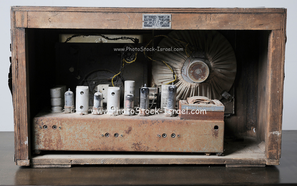 Interior of a radio receiver Vacuum tube and other parts can be seen