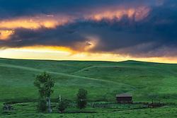 Prairie Sunset, old barn, Red Lodge Montana