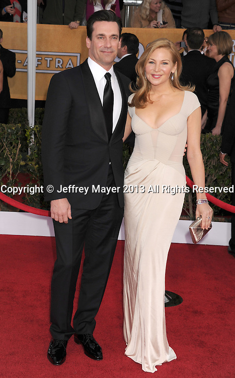 LOS ANGELES, CA - JANUARY 27: Jon Hamm and Jennifer Westfeldt arrive at the 19th Annual Screen Actors Guild Awards at the Shrine Auditorium on January 27, 2013 in Los Angeles, California.