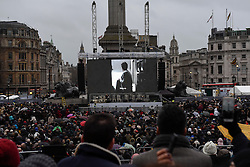 "© Licensed to London News Pictures. 26/02/2017. London, UK. The special premiere free screening of the Oscar-nominated, Best Foreign Language Film, ""The Salesman"", in Trafalgar Square, hosted by Mayor of London, Sadiq Khan.  The film's Iranian director, Asghar Farhadi, decided to boycott tonight's main Oscars ceremony in Hollywood, in solidarity with those affected by President Donald Trump's travel ban on people from seven Muslim majority countries (including Iran) from entering the USA.   Photo credit : Stephen Chung/LNP"
