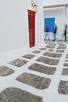 Grece, les Cyclades, Iles Egéennes, Ile de Mykonos, Ville de Chora, interieur de la ville // Greece, Cyclades, Mykonos island, Chora, Mykonos town, interior of the town