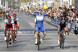 February 10, 2018 - Hatta Dam, UNITED ARAB EMIRATES - Italian Elia Viviani of Quick-Step Floors celebrates his victory at the sprint ahead of, Austrian Marco Haller of Katusha-Alpecin and British Adam Blythe of Aqua Blue Sport the fifth and last stage of the Dubai Tour 2018 cycling race, 129 km from the Skydive and the city WAlk in Dubai, United Arab Emirates, Saturday 10 February 2018. The Dubai Tour 2018 is taking place from 6 to 10 February. ..BELGA PHOTO YUZURU SUNADA (Credit Image: © Yuzuru Sunada/Belga via ZUMA Press)