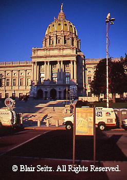 PA Capitol, TV Station Trucks, 1990,  Joseph, Huston, Architect, Harrisburg, Pennsylvania
