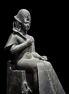 Ancient Egyptian statue of Ramesses II. granodiorite, New Kingdom, 19th Dynasty, (1279-1213 BC), Karnak, Temple of Amon. Egyptian Museum, Turin. Black background.<br /> <br /> Ramesses II is depicted in all his majesty in this ststue. He wears a Khepresh crown and holds the heqa sceptre against his chest. The statue probably belongs to the beginning of Ramesses II reign because of the presence of Queen Nefertari by the throne who died half way through his reign. .<br /> <br /> If you prefer to buy from our ALAMY PHOTO LIBRARY  Collection visit : https://www.alamy.com/portfolio/paul-williams-funkystock/ancient-egyptian-art-artefacts.html  . Type -   Turin   - into the LOWER SEARCH WITHIN GALLERY box. Refine search by adding background colour, subject etc<br /> <br /> Visit our ANCIENT WORLD PHOTO COLLECTIONS for more photos to download or buy as wall art prints https://funkystock.photoshelter.com/gallery-collection/Ancient-World-Art-Antiquities-Historic-Sites-Pictures-Images-of/C00006u26yqSkDOM