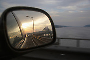 Tappan Zee Bridge  reflected in car rear view mirror at sunset
