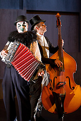 © Licensed to London News Pictures. 18/09/2012. LONDON, UK. Martyn Jacques (L), pulls a scowl in character as the 'criminal castrato' in a press call for The Tiger Lillies perform Hamlet at the Southbank Centre in London today (18/09/12). Directed by Martin Tulinius, the show runs from 18th September - 21st September at the South Banks's Queen Elizabeth Hall. Photo credit: Matt Cetti-Roberts/LNP