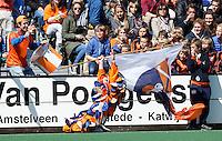 BLOEMENDAAL - HOCKEY - Mascotte van Bloemendaal  tijdens de play offs hoofdklasse hockeywedstrijd tussen de mannen van Bloemendaal en Rotterdam (1-4) . Rotterdam door naar de finale. FOTO KOEN SUYK