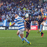 Dan Parks, Scotland, attempts a drop goal during the Argentina V Scotland, Pool B match at the IRB Rugby World Cup tournament. Wellington Regional Stadium, Wellington, New Zealand, 25th September 2011. Photo Tim Clayton...