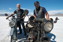 """Frankfurt, Germany Harley-Davidson dealer Thomas Trapp (L) with his 1916 Harley-Davidson F beside Andreas """"Andy"""" Kaindl of Southern Germany and his 1924 Henderson Deluxe after the Panorama portrait on the Bonneville Salt Flats during stage 12 (299 m) of the Motorcycle Cannonball Cross-Country Endurance Run, which on this day ran from Springville, UT to Elko, NV, USA. Wednesday, September 17, 2014.  Photography ©2014 Michael Lichter."""
