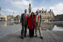 © Licensed to London News Pictures. 29/04/2016. Bradford, UK. FILE PICTURE. Ken Livingstone canvassing support with Naz Shah in Bradford before the 2015 General Election. Left to right Dave Green leader of Bradford Council, Naz Shah, Ken Livingstone. Photo credit : Paul Thompson/LNP