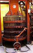 In the winery and old red wine press, Domaine la Tourade, André Andre Richard, Gigondas, Vacqueyras, Vaucluse, Provence, France, Europe