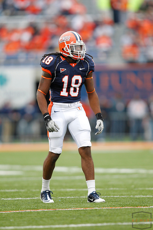 23 October 2010: Illinois Fighting Illini linebacker Nate Bussey (18)  as the University of Illinois Illini played the Indiana Hoosiers in a college football game in Champaign, Ill.