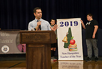 Keith Noyes thanks his colleagues and students after being named 2019 Teacher of the Year at Belmont Middle School on Wednesday morning.  (Karen Bobotas/for the Laconia Daily Sun)