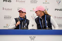 Auchterarder, Scotland, UK. 12 September 2019. Press conference with Team Europe players for the 2019 Solheim Cup. Pictured; Caroline Masson (l) and Anna Nordqvist.  Iain Masterton/Alamy Live News