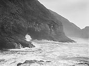 9969-0283. Breakers by Lost Boy cave, Oceanside. September 4, 1930.