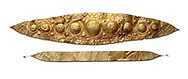 Mycenaean Gold diadems from Grave IV, Grave Circle A, Myenae, Greece. National Archaeological Museum Athens. 16th Cent BC. White Background.<br /> <br /> Top: Mycenaean Gold diadem with repousse circles and rosettes Cat No 232<br /> <br /> Bottom: Elegant Mycenaean gold daidem with fastening loops and dotted decoration. Three diamond shaped pendant hung from chains. Cat no 236. .<br /> <br /> If you prefer to buy from our ALAMY PHOTO LIBRARY  Collection visit : https://www.alamy.com/portfolio/paul-williams-funkystock/mycenaean-art-artefacts.html . Type -   Athens    - into the LOWER SEARCH WITHIN GALLERY box. Refine search by adding background colour, place, museum etc<br /> <br /> Visit our MYCENAEN ART PHOTO COLLECTIONS for more photos to download  as wall art prints https://funkystock.photoshelter.com/gallery-collection/Pictures-Images-of-Ancient-Mycenaean-Art-Artefacts-Archaeology-Sites/C0000xRC5WLQcbhQ
