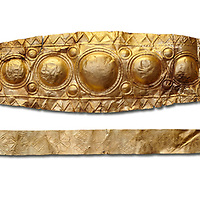 Mycenaean Gold diadems from Grave IV, Grave Circle A, Myenae, Greece. National Archaeological Museum Athens. 16th Cent BC. White Background.<br /> <br /> Top: Mycenaean Gold diadem with repousse circles and rosettes Cat No 232<br /> <br /> Bottom: Elegant Mycenaean gold daidem with fastening loops and dotted decoration. Three diamond shaped pendant hung from chains. Cat no 236.