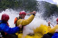 White water rafting on the Tuolumne River, near Yosemite National park, CA.