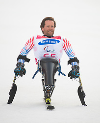 March 14, 2018 - Pyeongchang, South Korea - TYLER WALKER after winning the silver medal in the Giant Slalom competition (Sitting) at the Jeongson Alpine Center at the Pyeongchang Winter Paralympic Games.  (Credit Image: © Mark Reis via ZUMA Wire)