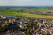 "Nederland, Gelderland, Zurphen, 03-10-2010; overzicht van de binnenstad met Walburgiskerk met Librije en Drogenapstoren..Overview of the town with St. Walburgis (Saint Walpurga) church, and its chapter-house (""Librije"")..luchtfoto (toeslag), aerial photo (additional fee required).foto/photo Siebe Swart"