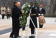 President elect Barack Obama  and Vice President elect Joe Biden lay a wreath at the Tomb of the Unknow Soldier at Arlington National Cemetary.  Photo by Dennis Brack