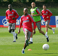 England training session at London Colney 01/09/09<br /> Photo Nicky Hayes Fotosports International<br /> Ashley Young on the ball in training.