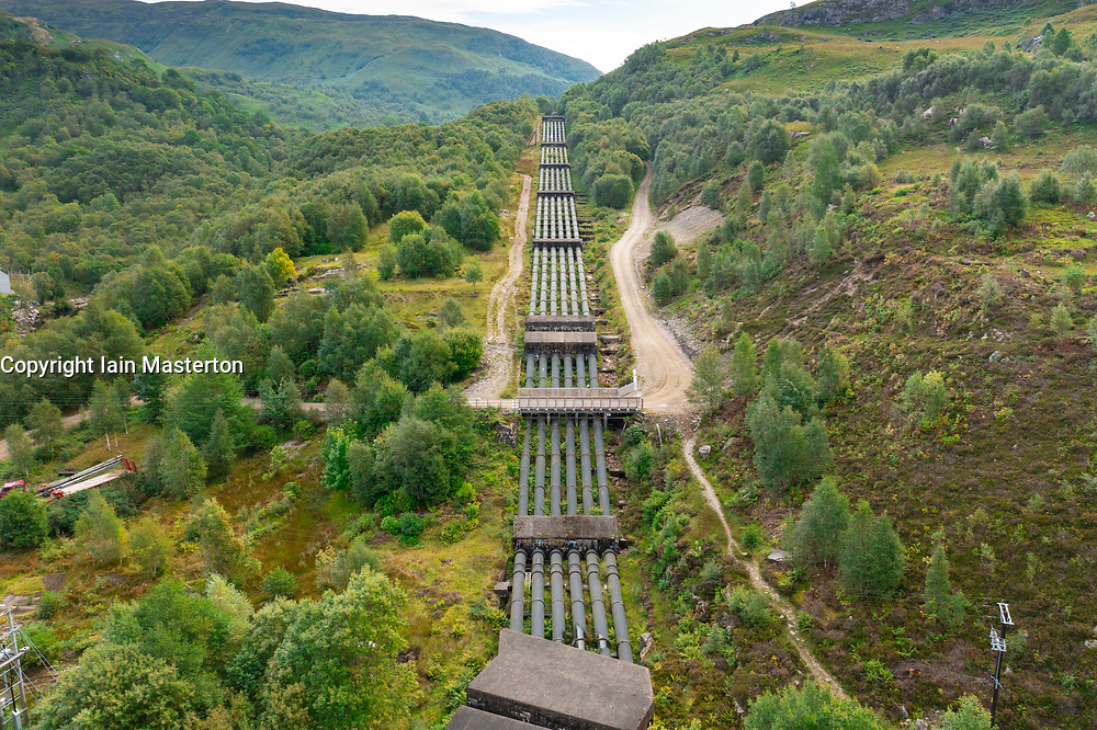Aerial view from drone of hydro electric water pipelines from Blackwater dam and reservoir, Kinlochleven, Lochaber, Highland, Scotland, UK