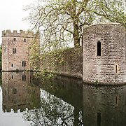 The moat surrounding the Bishop's Palace in Wells, Somerset, England.