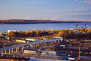Port of Anchorage in the fall with Mt McKinley.