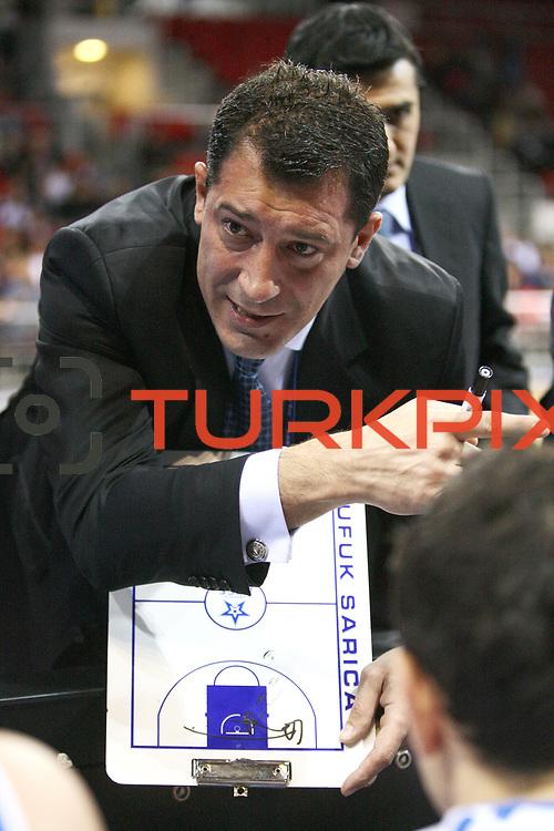 Anadolu Efes's coach Ufuk SARICA during their Turkish Basketball League match Anadolu Efes between Aliaga Petkim at Aliaga Arena in Istanbul, Turkey, Sunday, October 23, 2011. Photo by TURKPIX