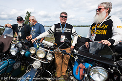 Erik Bahl (L) and John Bartman lined up for the panorama portrait in Aune Osborne Park in Sault Sainte Marie, the site of the official start of the Cross Country Chase motorcycle endurance run from Sault Sainte Marie, MI to Key West, FL. (for vintage bikes from 1930-1948). Thursday, September 5, 2019. Photography ©2019 Michael Lichter.