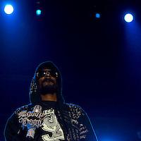 American rap star Snoop Dogg performing on tour.
