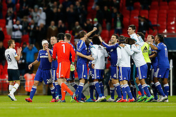 Chelsea celebrate at the final whistle after winning the Capital One Cup Final - Photo mandatory by-line: Rogan Thomson/JMP - 07966 386802 - 01/03/2015 - SPORT - FOOTBALL - London, England - Wembley Stadium - Chelsea v Tottenham Hotspur - Capital One Cup Final.