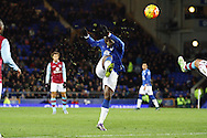 Romelu Lukaku of Everton shoots high and wide of the goal. Barclays Premier League match, Everton v Aston Villa at Goodison Park in Liverpool on Saturday 21st November 2015.<br /> pic by Chris Stading, Andrew Orchard sports photography.