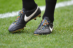 A linesman wears Rainbow Laces