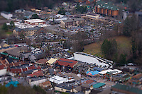 Aerial view of Gatlinburg during winter time