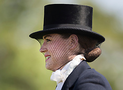 © Licensed to London News Pictures. 10/05/2017. Windsor, UK. A competitor takes part in the Senior Horse/Pony - ridden category on the first day of the Royal Windsor Horse Show. The five day equestrian event takes place in the grounds of Windsor Castle. Photo credit: Peter Macdiarmid/LNP