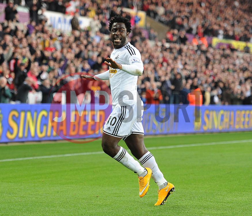Swansea City's Wilfried Bony celebrates. - Photo mandatory by-line: Alex James/JMP - Mobile: 07966 386802 - 29/11/2014 - Sport - Football - Swansea -  - Swansea v Crystal palace  - Barclays Premier League