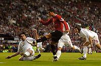 Fotball<br /> England 2005/2006<br /> Foto: SBI/Digitalsport<br /> NORWAY ONLY<br /> <br /> Manchester United v Debrecen VSC. UEFA Champions League Qualifier.<br /> 09/08/2005.<br /> <br /> Manchester United's Cristiano Ronaldo fires a shot in on goal.