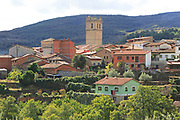 Church tower and rooftops of nucleated village Garganta la Olla, La Vera, Extremadura, Spain