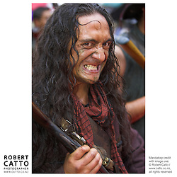 Maori warriors in costumes from the film arrive in at the premiere of River Queen in Wanganui, New Zealand.<br />
