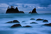 Long exposure of the sea stacks and rocky shore at Shi Shi Beach, Olympic National Park, Washington.