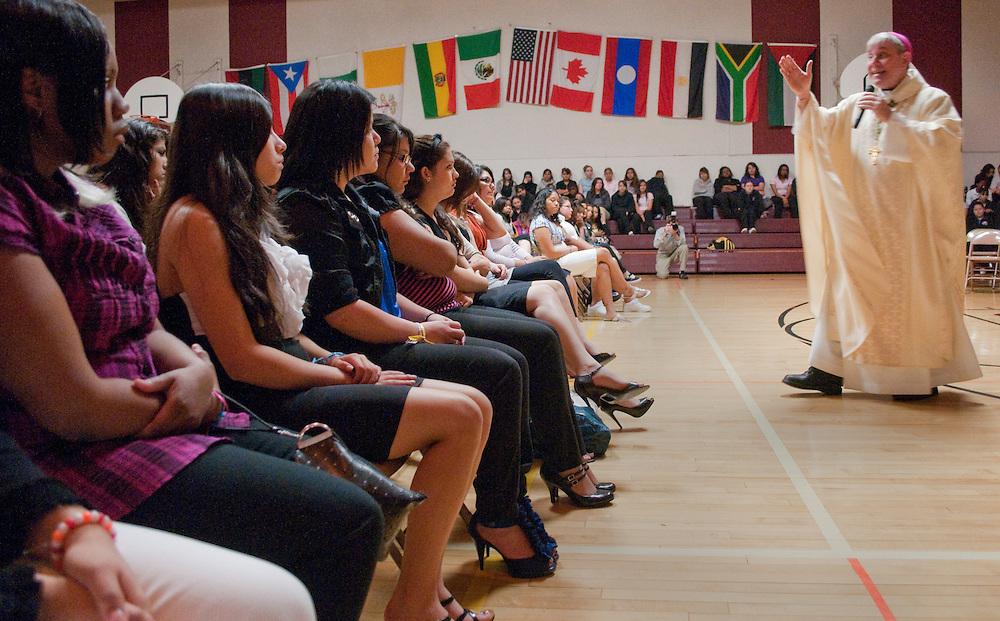 Archbishop Listecki gives his Homily at the graduation mass at St. Joan Antida High School, Tuesday, May 18, 2010.