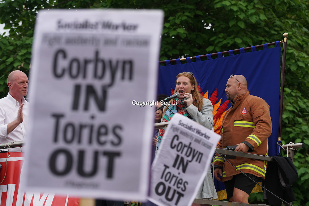 London,England,UK : 27th June 2016 : Speaker Angela Rayner MP addresses the crowd KeepCorbyn protest against coup and Build our movement  at Parliament Square, London,UK. photo by See Li