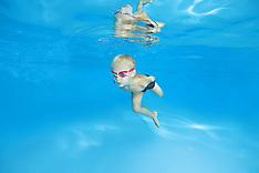 Ukraine - Infant Swims Under Water In Pool - 18 Sep 2016