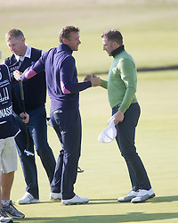 Andriy Shevchenko and Alessandro Del Piero. Players art the 18th, Alfred Dunhill Links Championship at the Championship Course at Carnoustie.