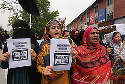 May 13, 2019, Srinagar, Kashmir, India: Women protestors raise slogans during a protest in Srinagar, Kashmir. The protestors were demanding justice in the alleged rape of a three-year-old girl in north Kashmir's Bandipora. (Credit Image: © Faisal KhanZUMA Wire)