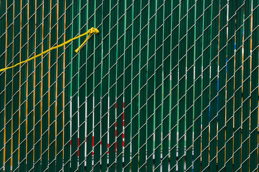 Utility fence abstract design, August, Clallam County Fair, Port Angeles, Wasington, USA