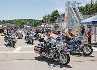 A sea of bikes depart from Lakeside Avenue at Rally Headquarters for the NH Humane Society ride on Monday morning.  (Karen Bobotas/for the Laconia Daily Sun)